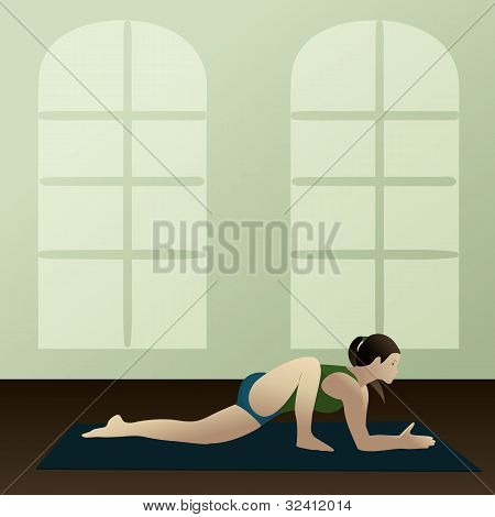Young Woman Practicing Yoga Lizard Pose(utthan Pristhasana)