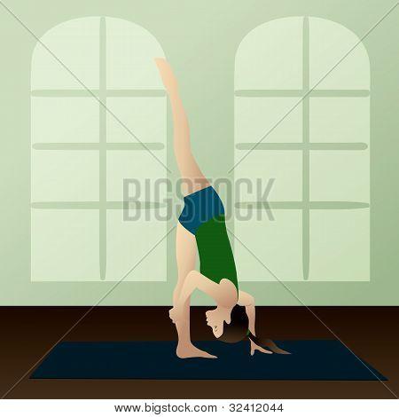 Young Woman Practicing Yoga Urdhva Prasarita Eka Padasana(standing Split)