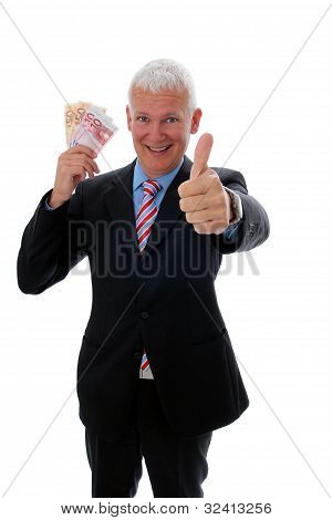 Businessman With Thumb Up And Money