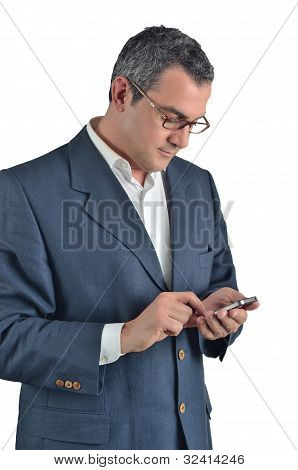 Businessman Using A Cell Phone  Isolated On White