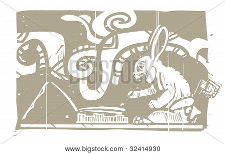 Mayan Rabbit Scribe Woodblock
