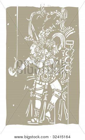 Mayan B Woodblock