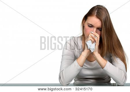 Woman sick with a cold