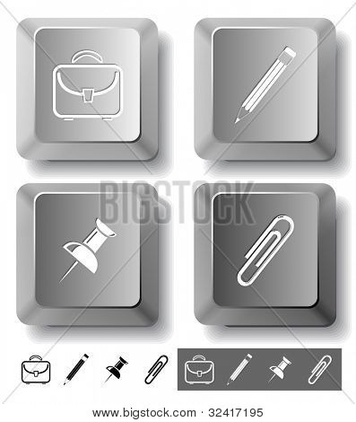 Business icon set. Pencil, clip, briefcase, push pin.  Computer keys. Vector illustration.
