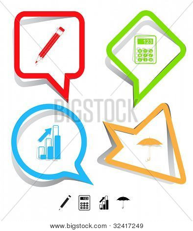 Business icon set. Pencil, calculator, umbrella, diagram. Paper stickers. Vector illustration.