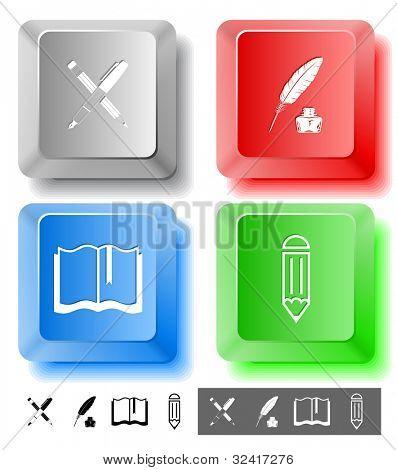 Conjunto de iconos de educación. Botella de tinta pluma y lápiz, lápiz, pluma y tinta, libro. Llaves de computadora. Vector