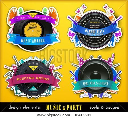 Colorful Retro Music Labels and Badges. Vector Illustration.