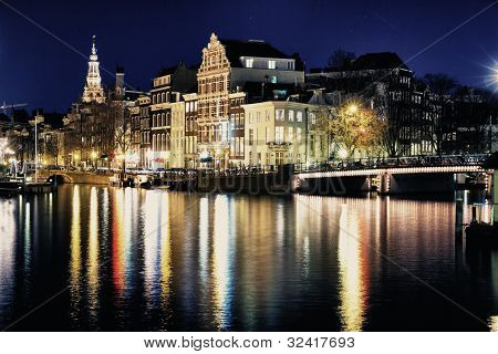 amsterdam bridge by night