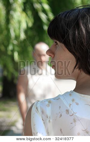 young female thinking about guy