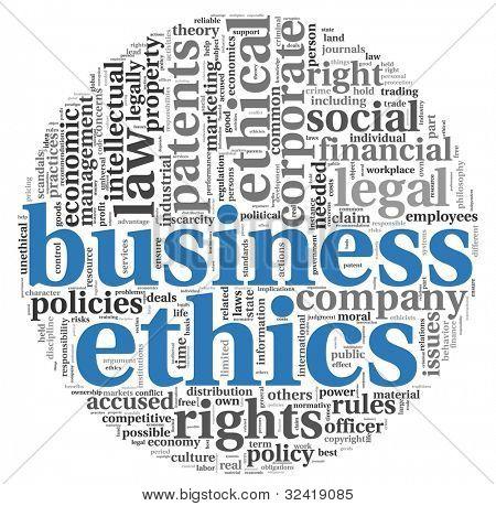 Conceito de ética de negócios relacionados com palavras em nuvem de Tags em branco