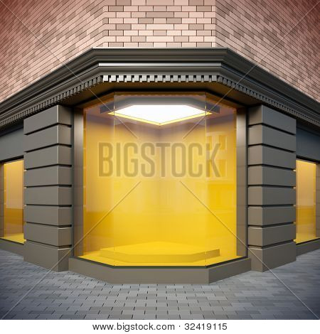 A 3D illustration of corner  showcase in classical style.