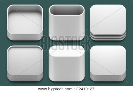 Set of blank template app icons for iphone and ipad applications.