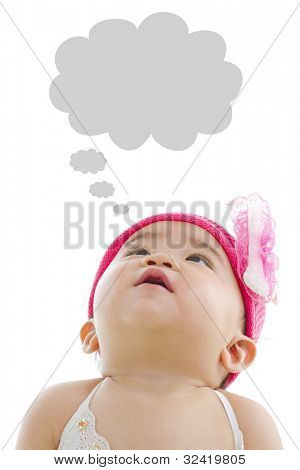 Asian baby girl looking up with thought bubble isolated on white background