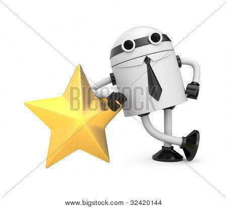 Robot with gold star. Image contain clipping path