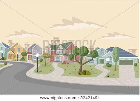 Colorful retro suburb neighborhood. Cartoon city.