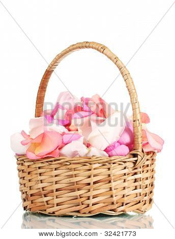 beautiful pink rose petals in basket isolated on white