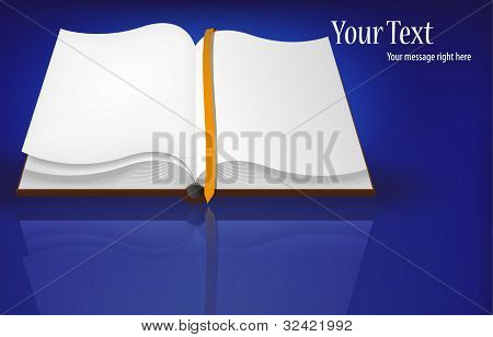 Vector Open Book On Blue For Your Design. Best Choice