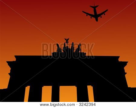 Plane And Brandenburg Gate Berlin