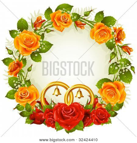 Flower frame. Vector yellow and red rose and golden wedding rings