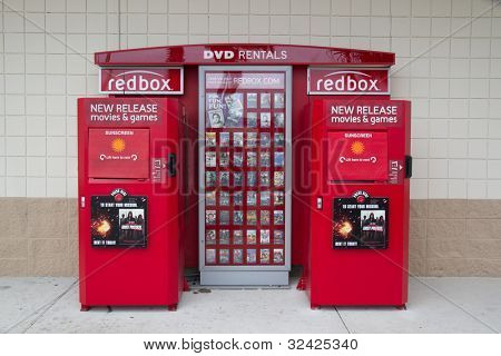 JACKSONVILLE, FL-APR 8: A DVD Rental Redbox Kiosk in Jacksonville, Florida on April 8, 2012. Coinstar Inc., the owner of Redbox, has 35,400 kiosks located mainly in supermarkets and drug stores.