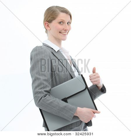 Motivated Woman Giving A Thumbs Up
