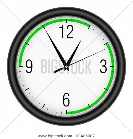 Wall clock on white background. (Action time).