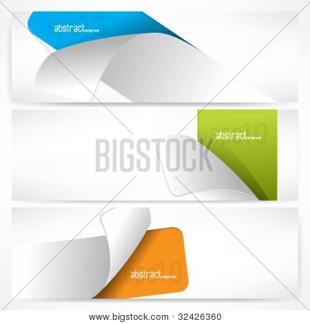 eps10 vector collection of three trendy sticker concept backgrounds