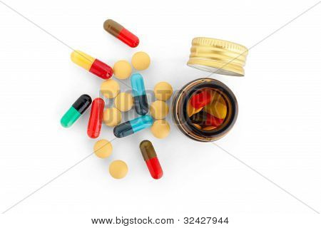 Pills & Bottles Isolated On White Background