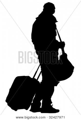 Vector drawing of a man high ground a suitcase