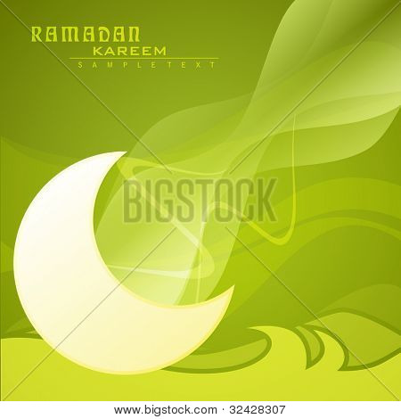 Ramadan Kareem background with moon on abstract green wave background with copy space for your text. EPS 10. Vector illustration.