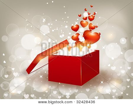 Open 3d red color gift box with shiny heart shapes on abstract shiny bright color background. EPS 10, Vector illustration.