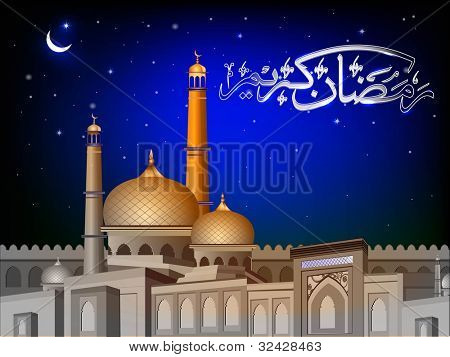 Arabic Islamic calligraphy of Ramadan Kareem text with Mosque or Masjid on night abstract background in blue color. EPS 10. Vector Illustration.