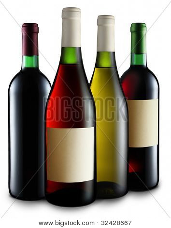 Four bottles of wine of different sorts on the white background.