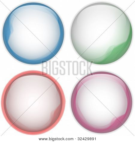 Glass Circle Button Colorful Acqua