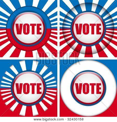 Botones de voto. Conjunto de cuatro con fondo