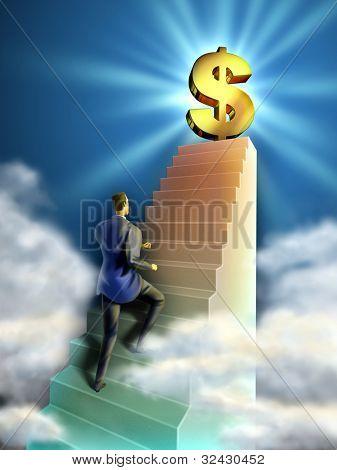 Zakenman klimt een trap die leidt tot een gigantische dollarteken. Digitale afbeelding.