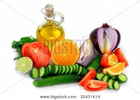 Ingredients, Fruits, Vegetables Dressings.
