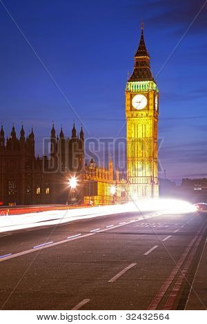 Big Ben from Westminster Bridge with Light Trail Landmark of London England United Kingdom at Dusk