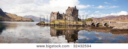 Panorama Reflection of Eilean Donan Castle, Highland Scotland.