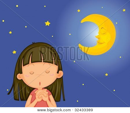 Illustration of girl praying at night