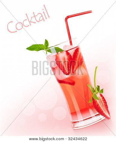 Cold strawberry drink border with white text space, refreshing summer beverage, red fruity cocktail with mint, glass of fresh juice