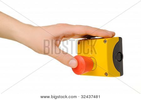 Hand Pushing Stop Button