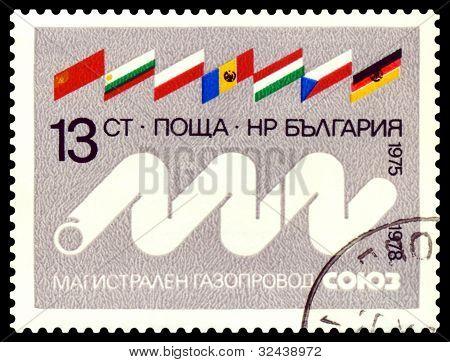 Vintage  Postage Stamp.  Flags  And  Pipe Line  Soyuz.