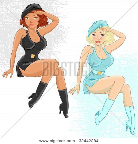 Two female soldiers gives honor. Vector illustration.