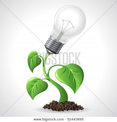 Green energy concept - Power saving light bulbs.