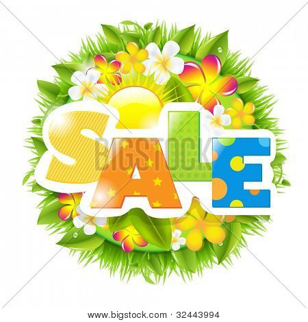 Summer And Spring Sale Template, Isolated On White Background, Vector Illustration