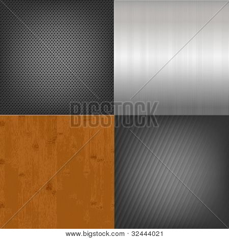 Set Of Metal And Wood Texture Background, Vector Illustration