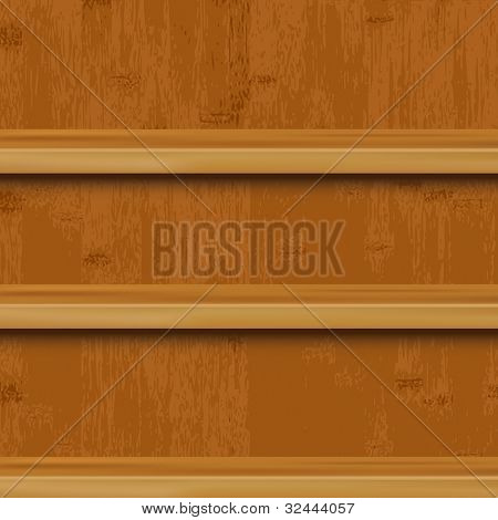 3 Wooden Book Shelf And Wood Background, Vector Illustration