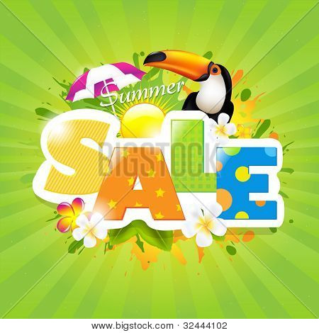 Summer Sale Poster Design Template, Vector Illustration