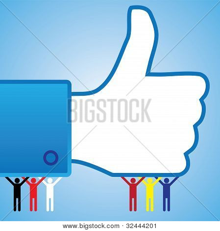 Colorful Thumb Up Like Hand Symbol With People
